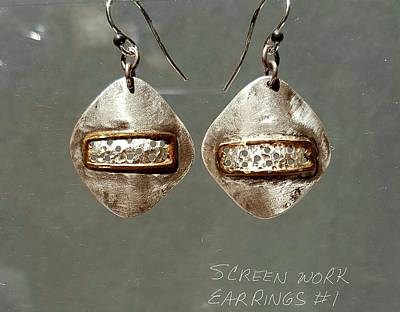 Jewelry - Screen Work Earrings 1 by Brenda Berdnik