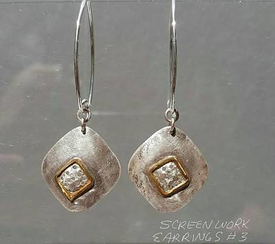 Jewelry - Screen Work Earrings 3 by Brenda Berdnik