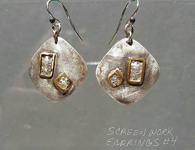 Jewelry - Screen Work Earrings 4 by Brenda Berdnik