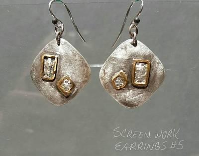 Jewelry - Screen Work Earrings 5 by Brenda Berdnik