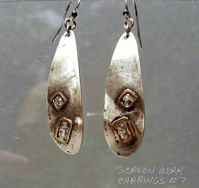 Jewelry - Screen Work Earrings 7 by Brenda Berdnik