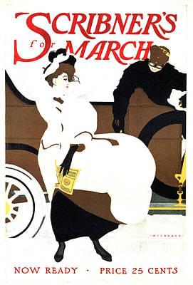 Mixed Media - Scribner's Magazine - March - Magazine Cover - Vintage Art Nouveau Poster by Studio Grafiikka