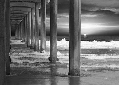 Pacific Photograph - Scripps Pier At Sunset - Black And White by Russ Harris