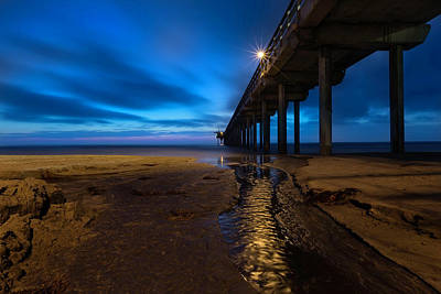 La Jolla Wall Art - Photograph - Scripps Pier Blue Hour by Larry Marshall