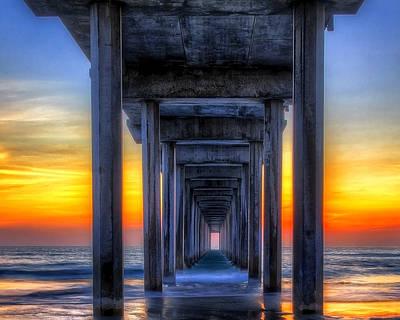 Scripp's Pier Sunset La Jolla California Art Print