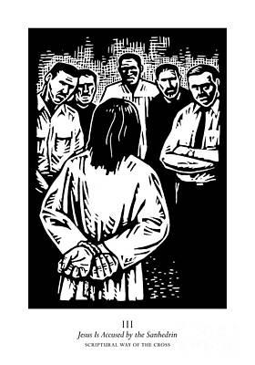 Painting - Scriptural Stations Of The Cross 03 - Jesus Is Accused By The Sanhedrin - Jljia by Julie Lonneman