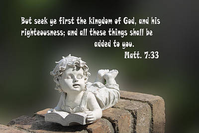 Scripture Matthew Seven With Sculpture Of Boy Reading A Book Art Print by Linda Phelps