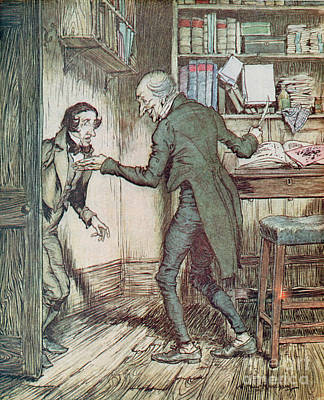Scrooge And Bob Cratchit Art Print by Arthur Rackham