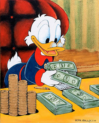 Painting - Scrooge Mcduck Counting Money by Victor Minca