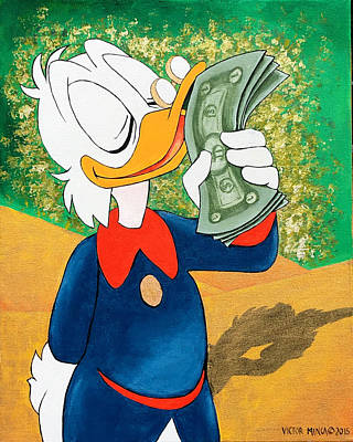 Painting - Scrooge Mcduck Kissing Money by Victor Minca