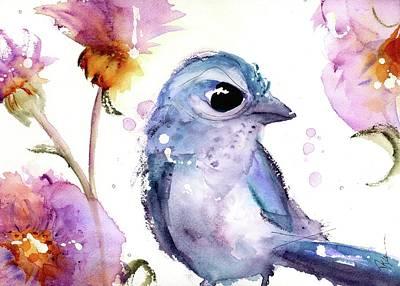Scrub Jay Painting - Scrub Jay In The Wildflowers by Dawn Derman