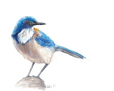 Scrub Jay Painting - Scrub Jay by Julie Selan
