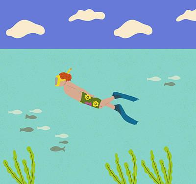 Swimming Digital Art - Scuba Boy by Nicole Wilson