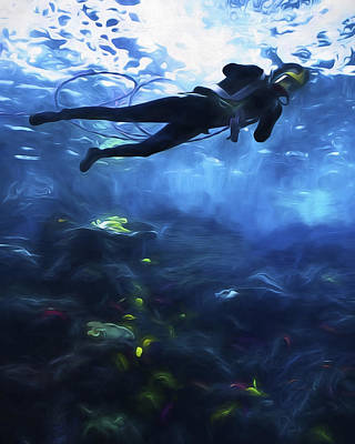 Digital Art - Scuba Diver by Joe Sparks
