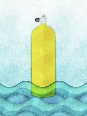 Scuba Diving Wall Art - Digital Art - Scuba Diving - Yellow Tank On Blue by Flo Karp