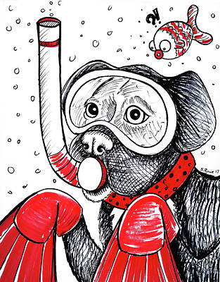 Drawing - Scuba Dooby Dog by Shawna Rowe