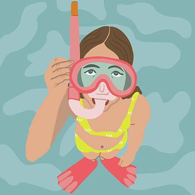 Ocean Digital Art - Scuba Girl by Nicole Wilson