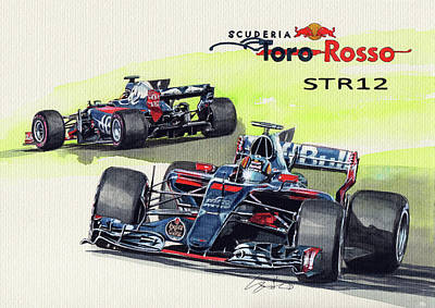 Toro Wall Art - Painting - Scuderia Toro Rosso Str12 by Yoshiharu Miyakawa
