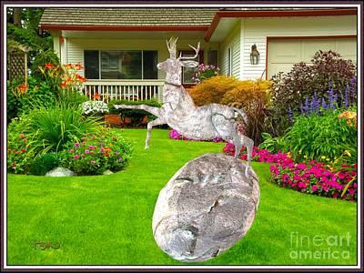 Statue Portrait Digital Art - Sculpture Of Deer 13 by Pemaro