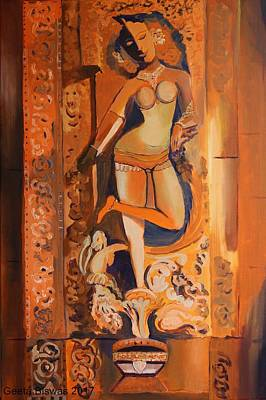 Painting - Sculpture On Temple Wall by Geeta Biswas