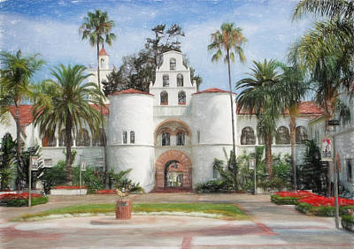 San Diego Mixed Media - Sdsu Drawing by Nancy Ingersoll