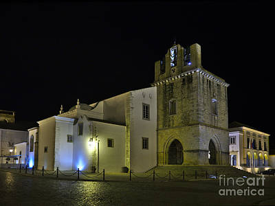 Temple Photograph - Se Church At Night In Faro by Angelo DeVal