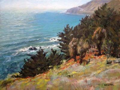 Sea And Pines Near Ragged Point, California Art Print by Peter Salwen