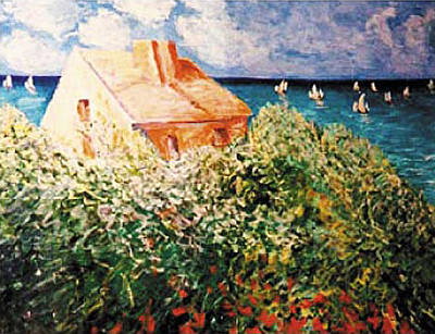 Painting - Sea At Argentuil After Monet by Banning Lary