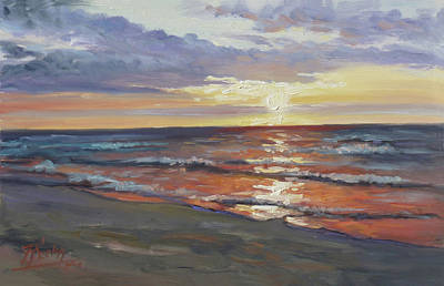 Sunset Painting - Sea Beach 8 - Baltic Sunset by Irek Szelag