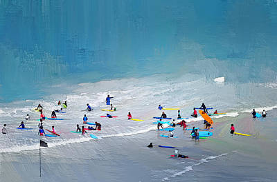 Abstract Beach Landscape Digital Art - Sea Beach Surfing by Yury Malkov