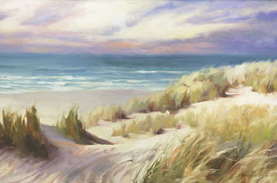Beach Oil Painting - Sea Breeze by Steve Henderson