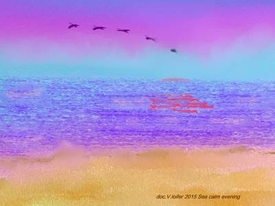 Digital Art - Sea Calm Evening. by Dr Loifer Vladimir