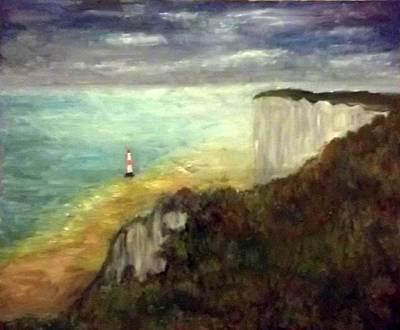 Sea, Cliffs, Beach And Lighthouse Art Print