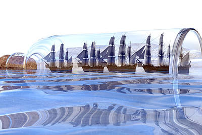 Pirate Ship Digital Art - Bottled And Ready To Ship by Betsy Knapp