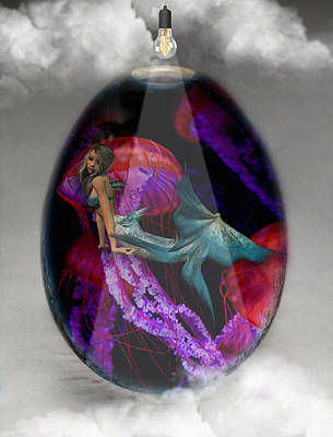 Sea Creature Mermaid Jellyfish Art Art Print