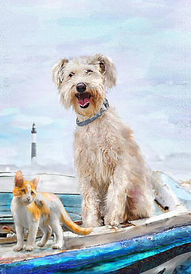 Sea Dog And Cat Art Print by Jane Schnetlage
