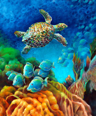 Fish Underwater Painting - Sea Escape IIi - Gemstone Hawksbill Turtle by Nancy Tilles