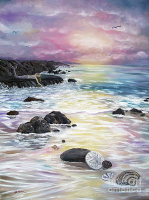 Painting - Sea Foam And Seashells by Laura Iverson