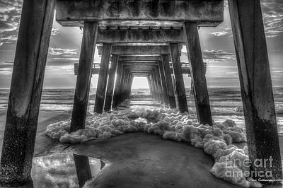 Photograph - Sea Foam B W Tybee Island Pier Savannah Georgia Art by Reid Callaway