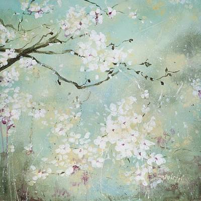 Cherry Tree Painting - Sea Foam by Laura Lee Zanghetti
