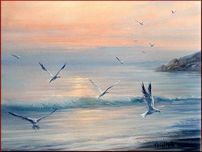 A Summer Evening Landscape Painting - Sea Freedom by Antonia Varallo