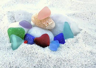 Photograph - Sea Glass And White Beach Rocks  by Janice Drew