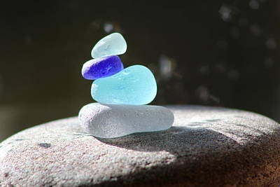 Vetro Photograph - Sea Glass Cairn 1 by Judy Bernier