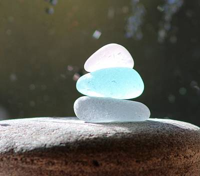 Vetro Photograph - Sea Glass Cairn 2 by Judy Bernier