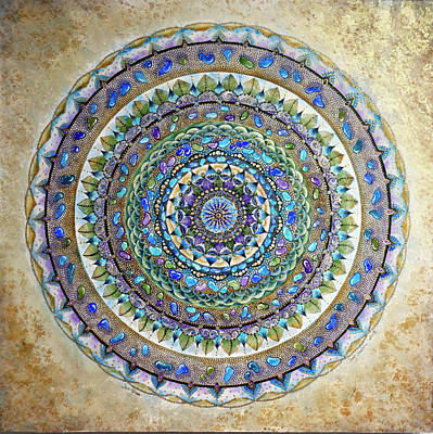 Sand Mandala Painting - Sea Glass Mandala by Susy Soulies