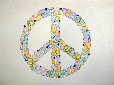 Painting - Sea Glass Peace Symbol by Anna Jacke