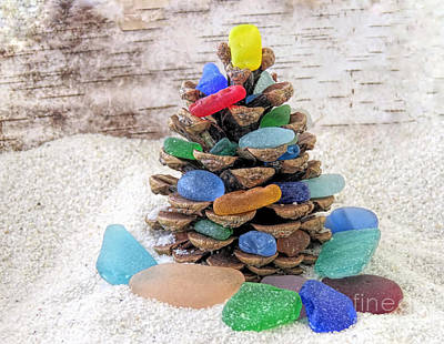 Photograph - Sea Glass Pine Cone Tree by Janice Drew