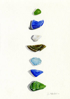 Sea Glass Watercolor Art Print by Sheryl Heatherly Hawkins