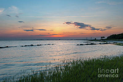 Photograph - Sea Grass Sunset Over Sullivan's Island South Carolina by Dale Powell