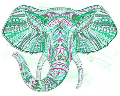 Painting - Sea Green Ethnic Elephant by Aloke Creative Store